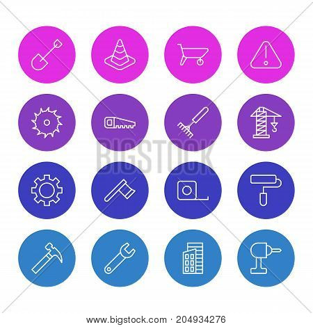 Editable Pack Of Hatchet, Caution, Spanner And Other Elements.  Vector Illustration Of 16 Structure Icons.