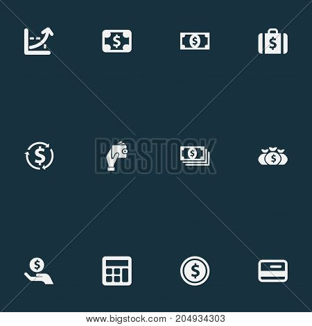 Elements Wealth, Accounting, Economy And Other Synonyms Banknote, Wallet And Finance.  Vector Illustration Set Of Simple Currency Icons.