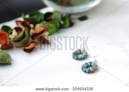Round Beaded Earrings Aquamarine And Bronze Color Close Up