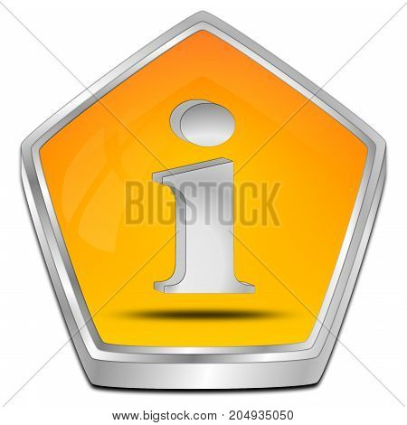 glossy orange Information Button - 3D illustration