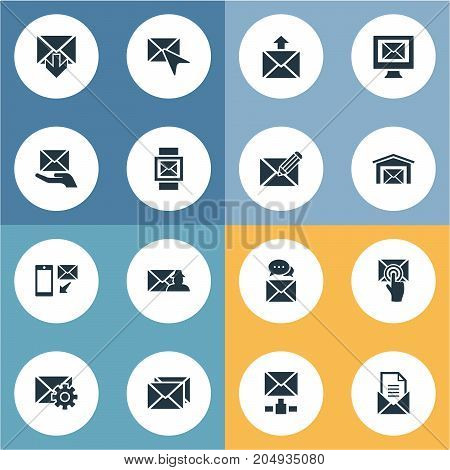 Elements Correspondence, Choose, Email And Other Synonyms Envelop, Pick And Envelope.  Vector Illustration Set Of Simple Message Icons.