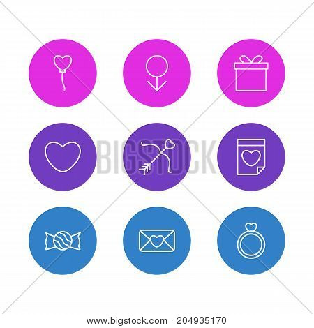 Editable Pack Of Decoration, Valentine, Lollipop And Other Elements.  Vector Illustration Of 9 Passion Icons.