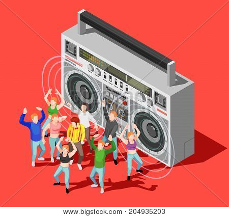 Isometric concept with happy dancing people at disco and big tape recorder on red background 3d vector illustration