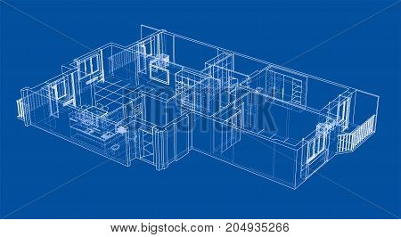 Interior sketch. Vector rendering of 3d. Wire-frame style. The layers of visible and invisible lines are separated