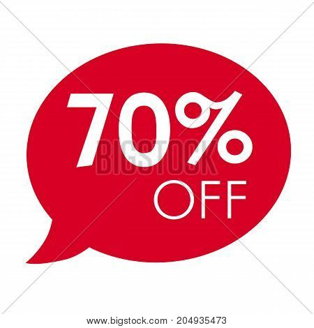 Special offer 70% off sale red speech bubble tag vector illustration. Discount offer price label, symbol advertising in retail, sale promo marketing, 70% off discount sticker, ad offer on shopping day