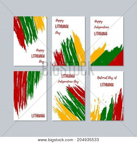 Lithuania Patriotic Cards For National Day. Expressive Brush Stroke In National Flag Colors On White