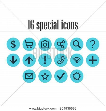 Editable Pack Of Magnifier, Letter, Publish And Other Elements.  Vector Illustration Of 16 Member Icons.