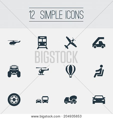 Elements Helicopter, Airship, Cement Machine And Other Synonyms Chopper, Transport And Transportation.  Vector Illustration Set Of Simple Transport Icons.