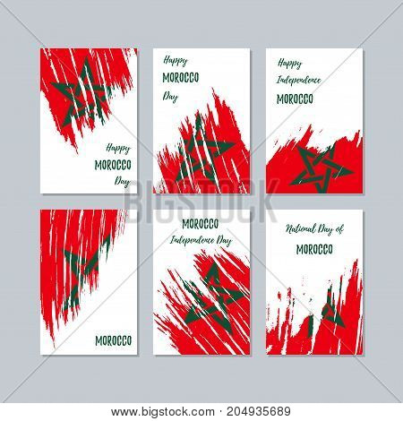Morocco Patriotic Cards For National Day. Expressive Brush Stroke In National Flag Colors On White C