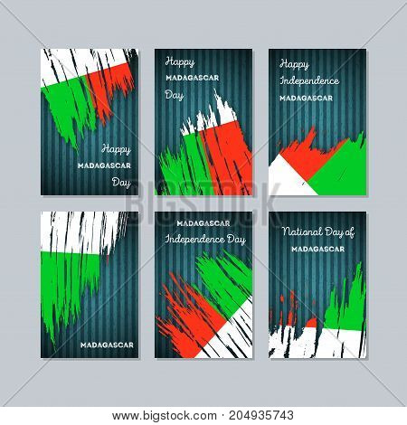 Madagascar Patriotic Cards For National Day. Expressive Brush Stroke In National Flag Colors On Dark