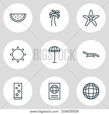 Editable Pack Of Earth, Melon, Longue And Other Elements.  Vector Illustration Of 9 Summer Icons.