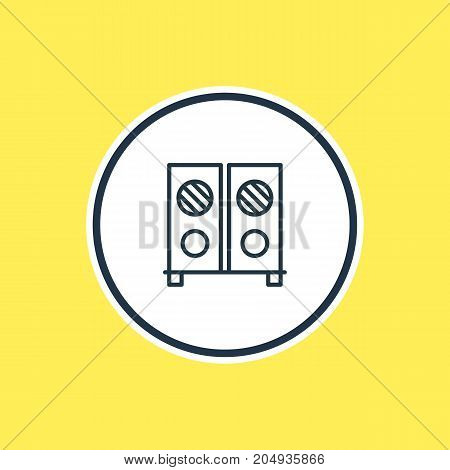 Beautiful Feast Element Also Can Be Used As Speaker Element.  Vector Illustration Of Loudspeaker Outline.