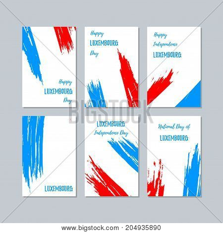 Luxembourg Patriotic Cards For National Day. Expressive Brush Stroke In National Flag Colors On Whit