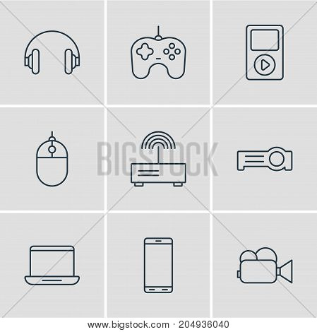 Editable Pack Of Joypad, Cursor Controller, Media Controller And Other Elements.  Vector Illustration Of 9 Hardware Icons.