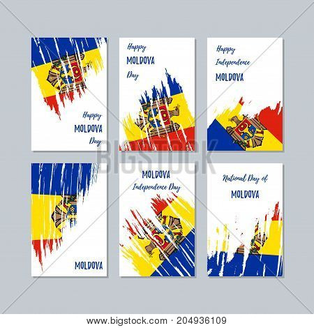 Moldova Patriotic Cards For National Day. Expressive Brush Stroke In National Flag Colors On White C