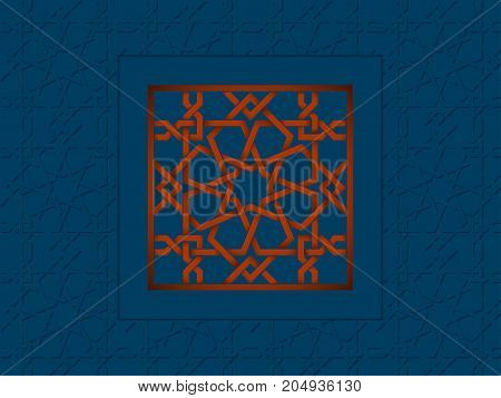 Islamic red pattern on blue. Template with arabic geometric pattern, east ornament, indian ornament, persian motif. Celebration card.