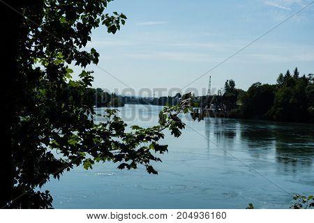 rhine view from rheinfelden switzerland in summer far view blue water