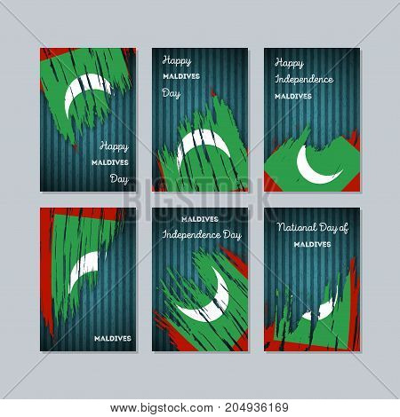 Maldives Patriotic Cards For National Day. Expressive Brush Stroke In National Flag Colors On Dark S