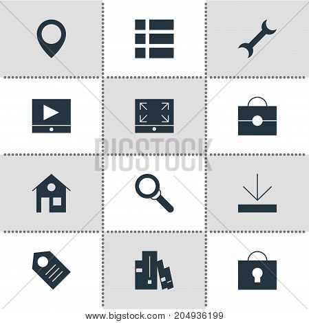 Editable Pack Of Play Button, Portfolio, House And Other Elements.  Vector Illustration Of 12 Web Icons.