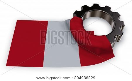 gear wheel and flag of peru - 3d rendering