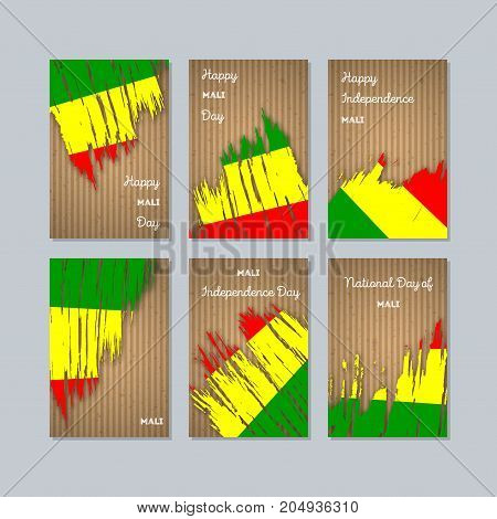 Mali Patriotic Cards For National Day. Expressive Brush Stroke In National Flag Colors On Kraft Pape