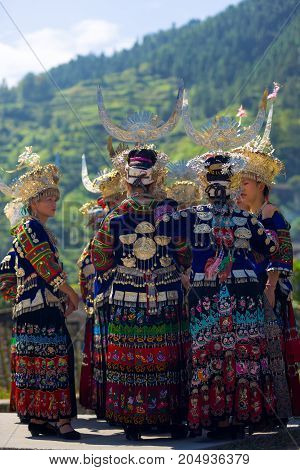 Miao Women Group Traditional Festival Costume