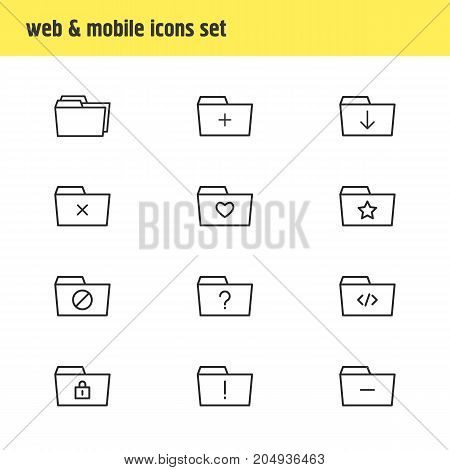 Editable Pack Of Locked, Closed, Folders And Other Elements.  Vector Illustration Of 12 Dossier Icons.