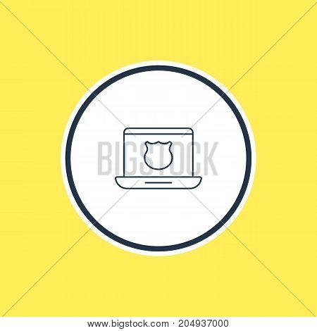 Secure Laptop Element.  Vector Illustration Of Safe Computer Outline.