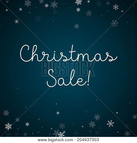 Christmas Sale Greeting Card. Sparse Snowfall Background. Sparse Snowfall On Blue Background. Elegan