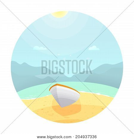 Boat on the beach.Colorful landscape with cloud flat style 2.0
