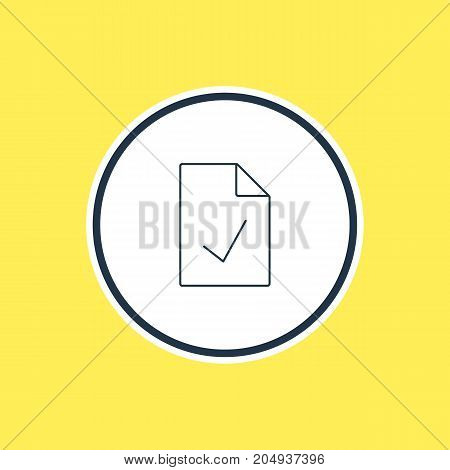 Checked Note Element.  Vector Illustration Of Approved Page Outline.