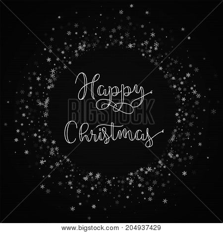 Happy Christmas Greeting Card. Beautiful Snowfall Background. Beautiful Snowfall On Red Background.g