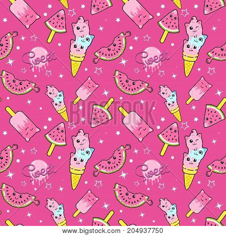 Cute ice cream kids pattern for girls and boys. Colorful ice cream on the abstract grunge background create a fun cartoon drawing. The ice cream background is made in neon colors.