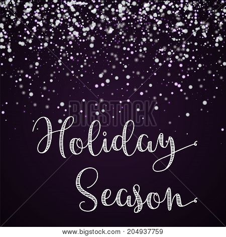 Holiday Season Greeting Card. Amazing Falling Snow Background. Amazing Falling Snow On Deep Purple B