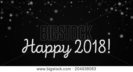 Happy 2018 Greeting Card. Sparse Snowfall Background. Sparse Snowfall On Black Background. Pleasing