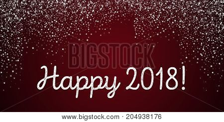 Happy 2018 Greeting Card. Amazing Falling Stars Background. Amazing Falling Stars On Red Background.