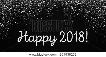 Happy 2018 Greeting Card. Amazing Falling Stars Background. Amazing Falling Stars On Black Backgroun
