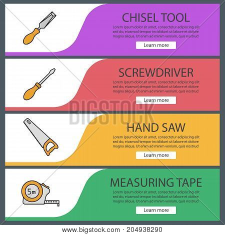 Construction tools web banner templates set. Chisel, screwdriver, hand saw, measuring tape. Website color menu items. Vector headers design concepts