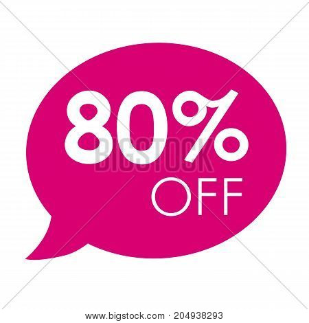 Special offer 80% sale pink speech bubble tag vector illustration. Discount offer price label, symbol advertising in retail, sale promo marketing, 80% off discount sticker, ad offer on shopping day