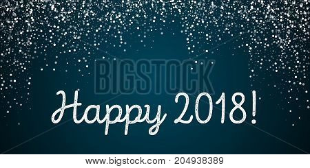 Happy 2018 Greeting Card. Random Falling White Dots Background. Random Falling White Dots On Blue Ba