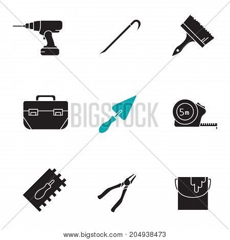 Construction tools glyph icons set. Silhouette symbols. Cordless drill, crowbar, paint brush and bucket , tool box, triangular shovel, measuring tape, nippers. Vector isolated illustration