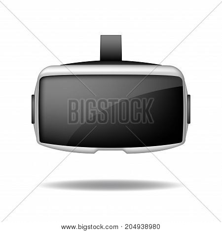 Stereoscopic 3d vr headset Front view. Vector virtual digital cyberspace technology. VR device Isolated on white Background EPS 10