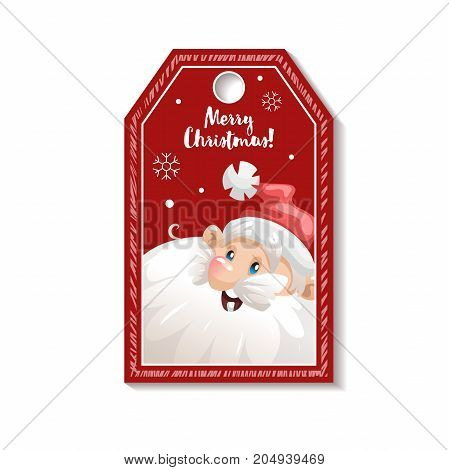 Cartoon looking red Christmas tag or label with smiling Santa Claus in hat. Gift tag invitation banner sale or discount poster.