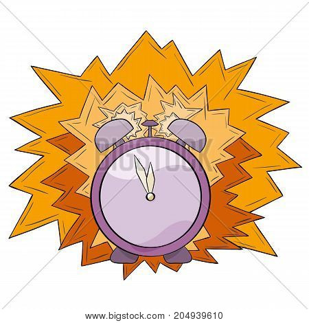 Violet alarm clock isolated on white background.