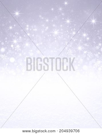 Falling snowflakes white snow and bright light on a glittering silver colored background