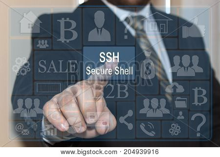 The businessman clicks on the SSH Secure Shell on a touch screen