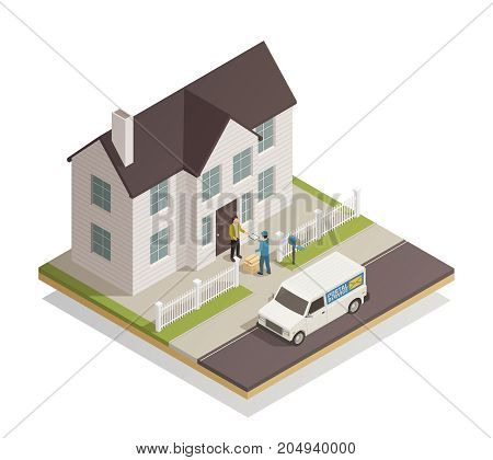 Postal parcels delivery service isometric composition  with postman handling customer package at residential townhouse door vector illustration