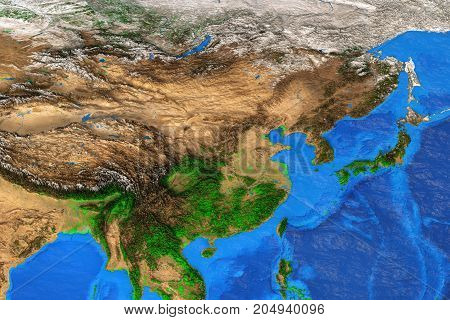 Physical map of East Asia. Detailed satellite view of the Earth and its landforms. Elements of this image furnished by NASA