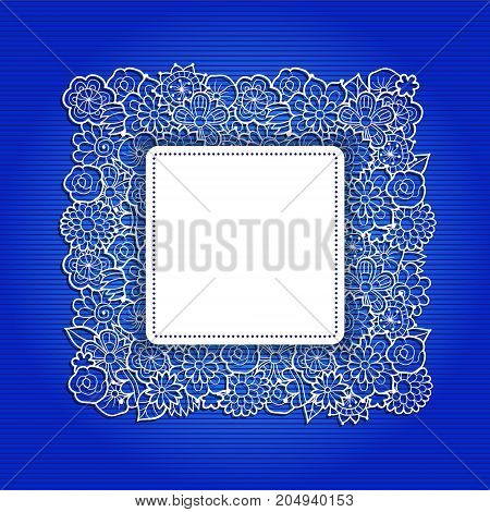 Card design template. Lacy decorative floral frame on blue background with stripes