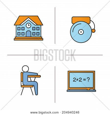 School and education color icons set. School building, bell, pupil sitting in classroom, blackboard. Isolated vector illustrations